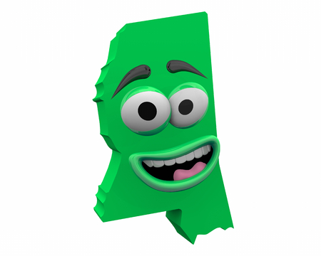 Mississippi State Map Eyes Mouth Funny Cartoon Face 3d Illustration