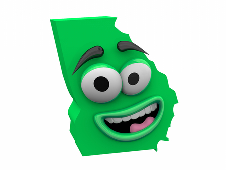 Georgia State Map Eyes Mouth Funny Cartoon Face 3d Illustration