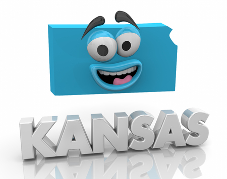 Kansas KS State Map Cartoon Face Word 3d Illustration Reklamní fotografie