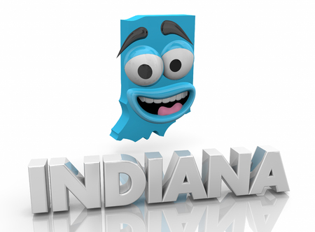 Indiana IN State Map Cartoon Face Word 3d Illustration Stock Photo