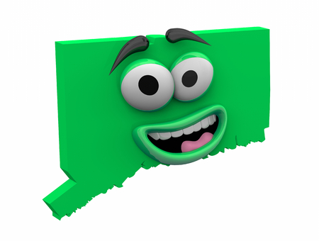 Connecticut State Map Eyes Mouth Funny Cartoon Face 3d Illustration
