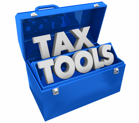 Tax Tools Income Payment Budget Toolbox Words 3d Illustration