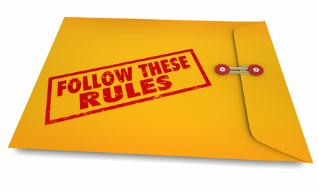 Follow These Rules Instructions Yellow Envelope 3d Illustration Stock Photo