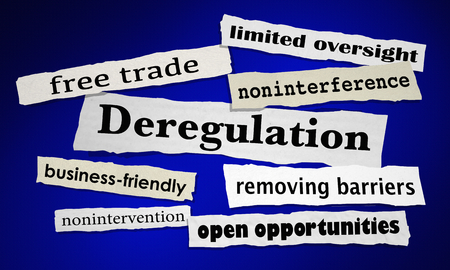 Deregulation Remove Business Barriers Free Trade News Headlines 3d Illustration 写真素材