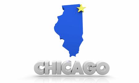 Chicago IL Illinois City Map 3d Illustration