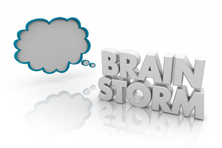 Brainstorm Thought Cloud Think of Good Ideas 3d Illustration