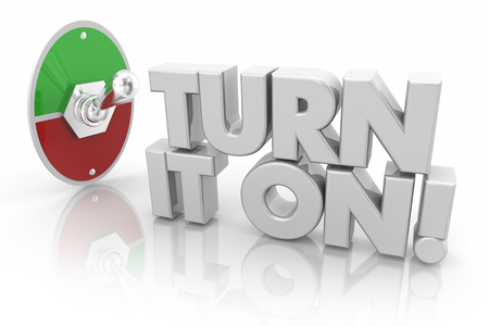 Turn It On Toggle Switch Start Begin Words 3d Illustration Фото со стока