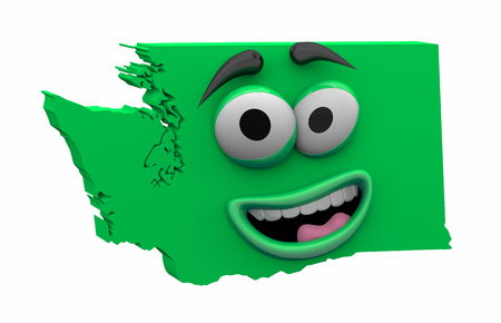 Washington State Map Eyes Mouth Funny Cartoon Face 3d Illustration Фото со стока