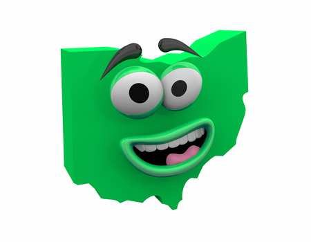 Ohio State Map Eyes Mouth Funny Cartoon Face 3d Illustration 版權商用圖片