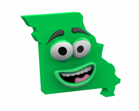 Missouri State Map Eyes Mouth Funny Cartoon Face 3d Illustration Banco de Imagens