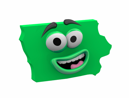 Iowa State Map Eyes Mouth Funny Cartoon Face 3d Illustration