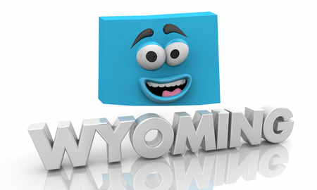 Wyoming WY State Map Cartoon Face Word 3d Illustration