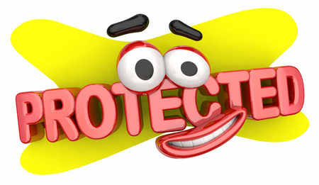 Protected Safe Secure Cartoon Face 3d Illustration