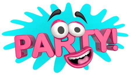 Party Cartoon Face Celebration Event Word 3d Illustration