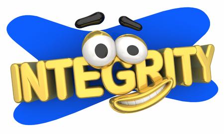 Integrity Trust Honesty Cartoon Face 3d Illustration