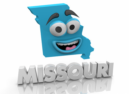 Missouri MO State Map Cartoon Face Word 3d Illustration