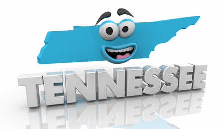 Tennessee TN State Map Cartoon Face Word 3d Illustration Banque d'images - 114389316