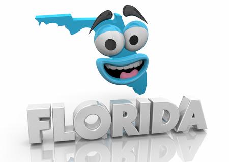 Florida FL State Map Cartoon Face Word 3d Illustration