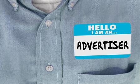Advertiser Marketing Business Hello Name Tag Words 3d Illustration