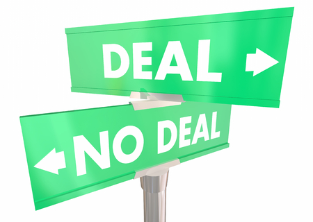 Deal or No Deal Reach Agreement Contract Two 2 Way Street Signs 3d Illustration Banco de Imagens