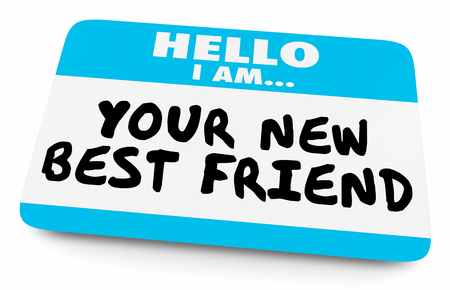 Your New Best Friend Name Tag 3d Illustration 스톡 콘텐츠
