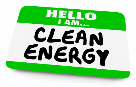 Clean Energy Power Name Tag 3d Illustration