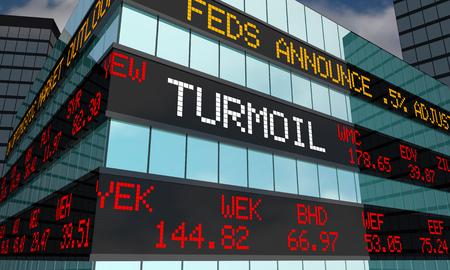 Turmoil Volatility Stock Market Ticker Words 3d Illustration Stock Photo