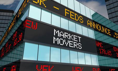 Market Movers Stock Market Ticker Words 3d Illustration