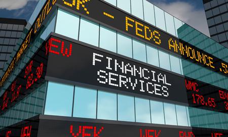 Financial Services Stock Market Ticker Words 3d Illustration Zdjęcie Seryjne