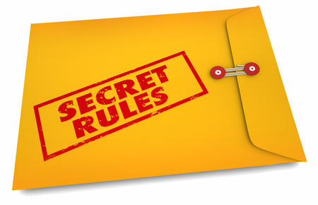 Secret Rules Confidential Hidden Classified Yellow Envelope 3d Illustration Reklamní fotografie - 114389404