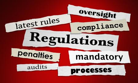 Regulations Rules Oversight Control News Headlines 3d Illustration