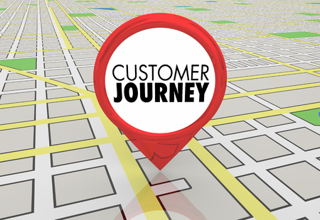 Customer Journey Map Pin Location Directions 3d Illustration Banco de Imagens