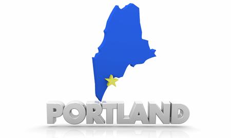 Porland ME Maine City State Map 3d Illustration Stockfoto