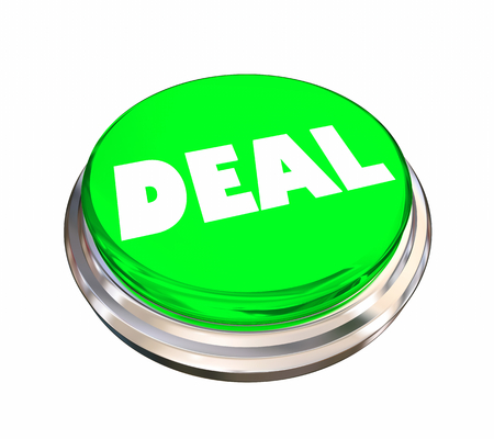 Deal Good Buy Save Bargain Round Button Word 3d Illustration