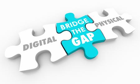 Digital Vs Physical World Bridge the Gap Puzzle Pieces 3d Illustration