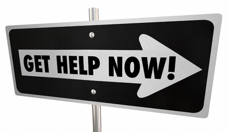 Get Help Now Assistance One Way Road Sign 3d Illustration Фото со стока