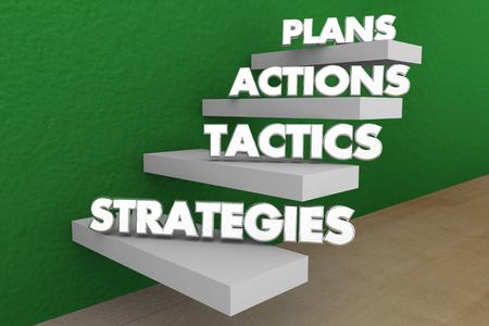 Plans Actions Tactics Strategies Steps Words 3d Illustration