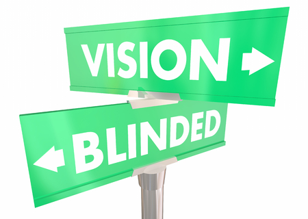 Vision Vs Blinded Sight or Blurred Two 2 Way Street Signs 3d Illustration Stockfoto