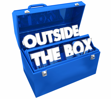 Outside the Box Tools Toolbox Words 3d Illustration