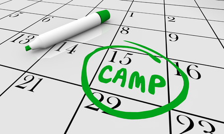Camp Date Day Circled Calendar Word 3d Illustration