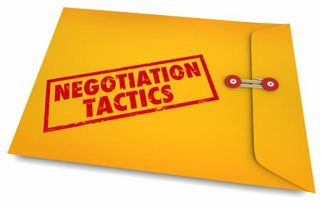 Negotiation Tactics Secrets Yellow Envelope 3d Illustration Banco de Imagens