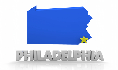 Philadelphia PA Pennsylvania City State Map 3d Illustration