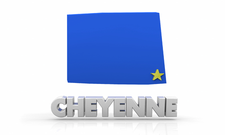 Cheyenne Wyoming WY City State Map 3d Illustration 스톡 콘텐츠