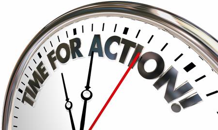 Temps pour l'action prendre le contrôle maintenant les mots de l'horloge illustration 3d