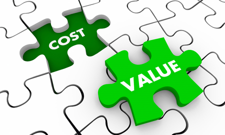 Value Vs Cost Return on Investment ROI Puzzle Piece Hole 3d Illustration Banco de Imagens