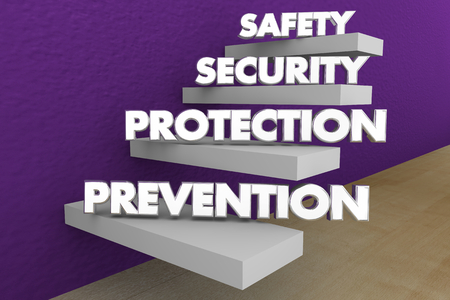 Safety Security Protection Prevention Steps Words 3d Illustration