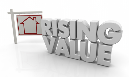 Rising Value Higher Price House for Sale Sign 3d Illustration 版權商用圖片 - 114921656
