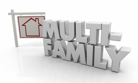 Multi-Family Property House for Sale Sign 3d Illustration