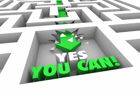 Yes You Can Do It Succeed Maze Arrow Words 3d Illustration Reklamní fotografie