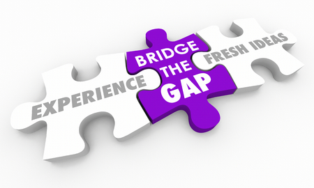 Experience Vs New Fresh Ideas Bridge the Gap Puzzle Pieces 3d Illustration Banco de Imagens